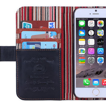 iPhone 6 Leather Case With Credit Card Holders and Stand Function For iPhone 6