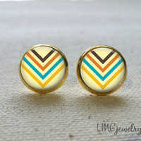 Gold Chevron Arrow Post Earrings, Geometric Jewelry, Minimalist Jewelry, Turquoise Arrow Earrings