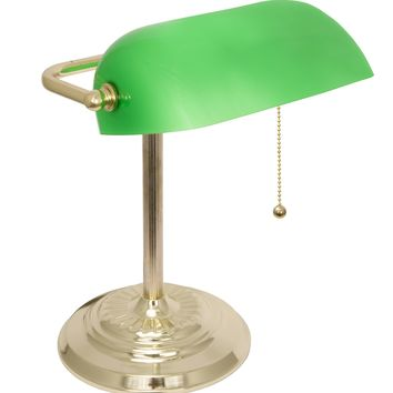 LightAccents Adjustable Metal Bankers Desk Lamp with Glass Shade