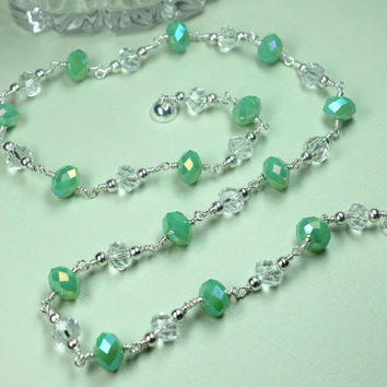Green and Clear Crystal Necklace, Individually Wire Wrapped, Faceted Rondelle Crystals, Crystal Jewelry