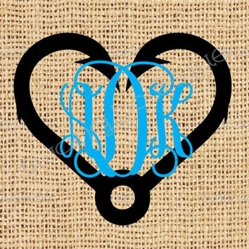 Fishing Hook Heart Monogram ~ Two Color ~ Fish ~ Custom ~ Vinyl ~ Decal ~ Sticker