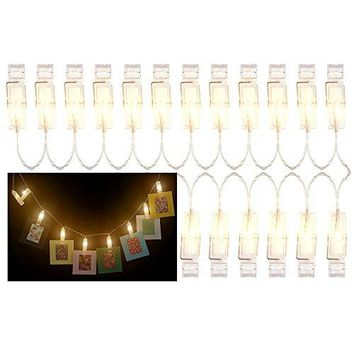 Katia 2 Meter LED String Lights with 20 Photo Clips Using AA Batteries as Energy Sources, Perfect for Hanging Picture/ Instant camera Film / Artwork/ Notes (Warm)
