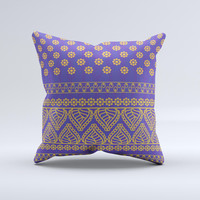 Tall Purple & Orange Floral Vector Pattern Ink-Fuzed Decorative Throw Pillow