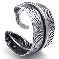 KONOV Mens Womens Stainless Steel Ring, Vintage Feather, Black Silver