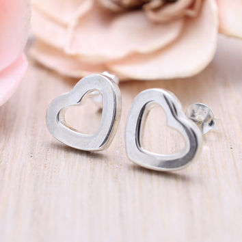 925 sterling silver Open Heart Stud Earrings