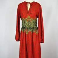 Vintage 60's Kay Windsor Smocked Paisley Print Dress L