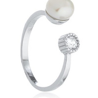 925 Sterling Silver Simulated Pearl and CZ Stone Wrap Around Ring