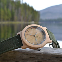 NEW Real WOOD Minimalist Watch - Made from Maple Wood and Dark Green Canvas Strap