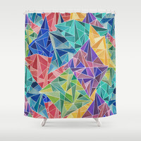 Geometric Rainbow Shower Curtain by ArtLovePassion
