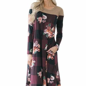 Burgundy Floral Checked Long Sleeve Casual Midi Dress