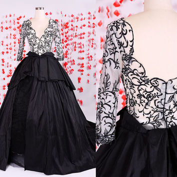Gorgeous Puffy Black embroidery long sleeves prom dresses gown,Elegant Taffeta ball gown,Pageant quinceanera dresses gowns like a black swan