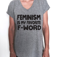 feminism is my favorite F word Triblend Ladies V-neck T-shirt women girl ladies slogan feminist equality protest political democrat