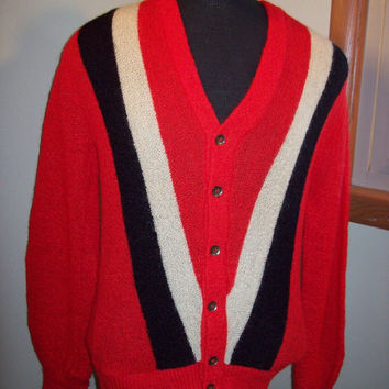 Vintage 50s Striped V Neck Cardigan Mohair Sweater / Penny's Towncraft / Size Small S