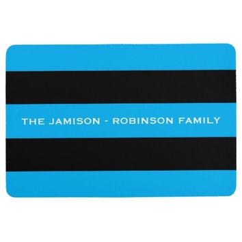 Blue and Black Stripe Custom Floor Mat with NAME