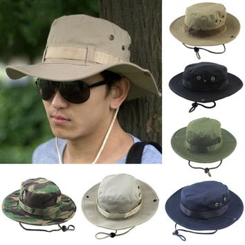 2018 Military Panama Safari Boonie Sun Hats Cap Summer Men Women Camouflage Bucket Hat With String Fisherman Cap