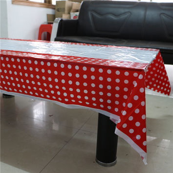 lovely red polka dot disposable plastic tablecover 108*180cm tablecloth for kids happy birthday party decoration supplies event
