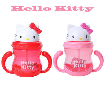 Baby bottle pp Hello Kitty Kids Straw Cup with Handles Child Bottle Sippy Cups Children Learn Drinking Water Straw Training Cup