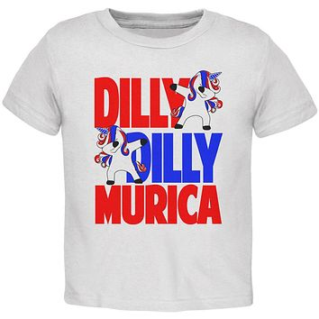 4th of July Dilly Dilly Murica Dabbing Unicorn Toddler T Shirt