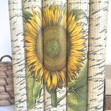 Sunflower Decorative Books, Yellow Books, Sunflower Book Decor, Flower Books, Sunflower Books Custom Covers, Book Lover Housewarming Gift