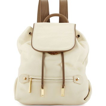 Two-Tone Leather Backpack, Chalk Multi - Halston Heritage