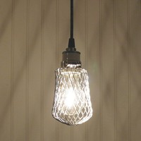 Industrial Hanging PENDANT with CAGE by LampGoods on Etsy