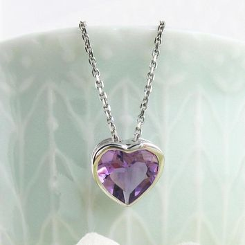 Solitaire Crystal Heart Necklace with Amethyst CZ