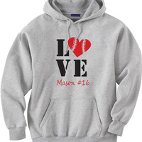 Baseball mom hoodie sweatshirt.  Personalized with player's name and number.  Baseball Love.