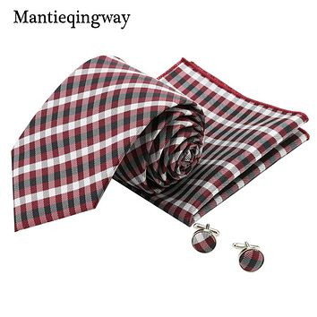 High Quality Plaid Tie Hankies Cufflinks Sets For Men Polyester Marriage Tuxedo Neckties Pocket Squares