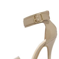 Be My Bae Natural Patent Ankle Strap Heels