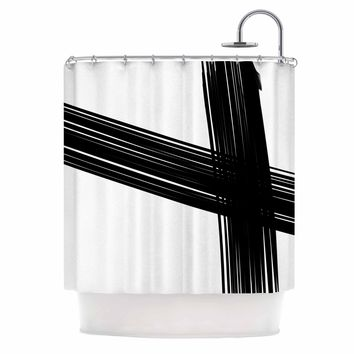Cross Brush Strokes - Black White Abstract Watercolor Shower Curtain