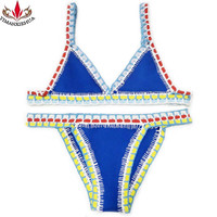 2017 New Push up neoprene bikini set women sexy swimsuit Crochet Bikini Set Summer Bikinis Women Biquini Swimwear Female Beach