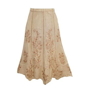 Mogul Women's Indian Peasant Skirt Beige Floral Embroidered Long Skirts - Walmart.com
