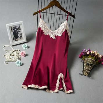 Satin Lace Mini Dress Nightwear Sexy Nightgown Women Elegant Floral Nightdress Lady Sleepshirt Homewear Female Night Clothes