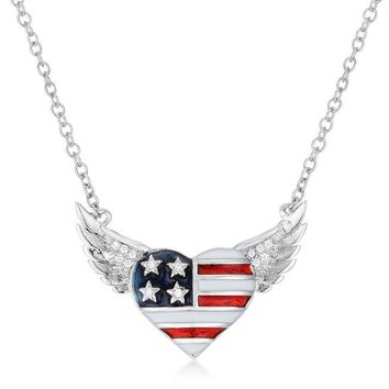.14 Ct Patriotic Winged Heart Necklace
