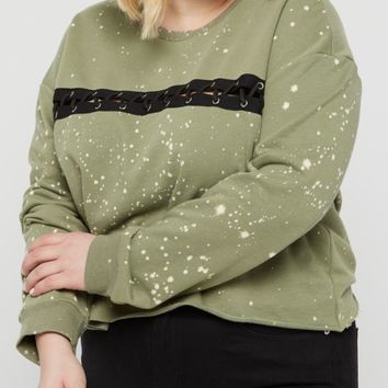 Plus Olive Bleached Laced Raw Edge Sweatshirt | Plus Sweatshirts & Hoodies | rue21