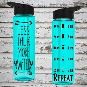 Less Talk More Water 24oz Water Intake Tracker. Gym Water Bottle. Personalized Water Bottle. Hourly Reminders. Healthy Water Bottle.