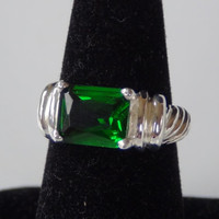 Green Cubic Zirconia Ring Set In 925 Sterling Silver