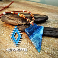 Native american arrowhead necklace, bohemian hippie jewelry