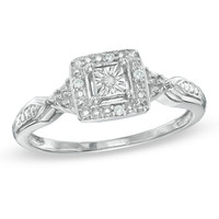 Diamond Accent Square Frame Promise Ring in Sterling Silver - Size 7 - - View All - PAGODA.COM