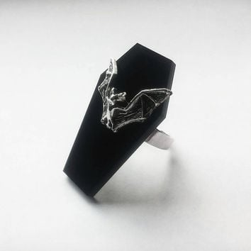 Bat Coffin Ring