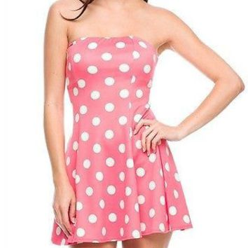 Sexy Strapless Polka Dot Printed Flare A-Line Bustier Tube Mini Cocktail Dress