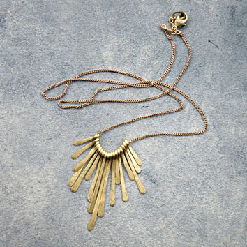 Theia Necklace Delicate Hammered Brass Fan Sun Burst Bohemian Fringe Layering Jewelry