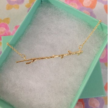 SALE - Gold Driftwood Dainty Necklace,Women's Necklace,Gold Necklace,Bridesmaid Gift,Birthday Gift,Valentine's Day Gift,Christmas Gift