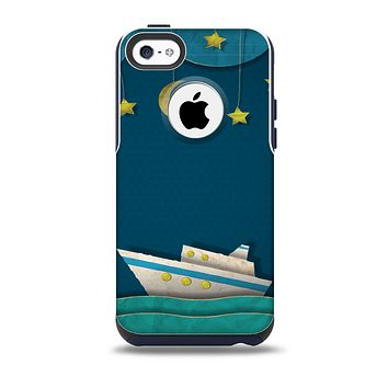 The Layered Paper Night Ship with Gold Stars Skin for the iPhone 5c OtterBox Commuter Case