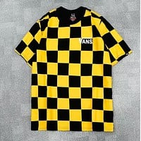 Vans Fashion New Summer Letter Print Plaid Women Men Top T-Shirt Yellow