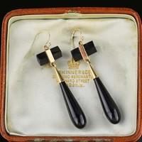 Vintage 14K Gold Onyx Art Deco Earrings 1920s