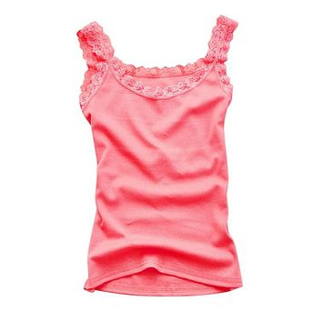 ROPALIA New Arrived Women Summer Sleeveless Crop Tops Female Lace Vest Blouse Casual Top Slim Cami Top