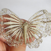 Large Antique Art Nouveau Lace Style Filigree Sterling Silver Butterfly Brooch - Large Butterfly Brooch - Antique Filigree Butterfly