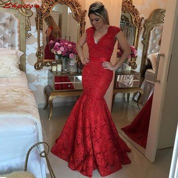 Red Lace Mermaid Mother of the Bride Dresses for Weddings Beaded Evening Gowns Groom Godmother Dresses