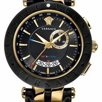 Versace 'V-Race GMT' Leather Strap Watch, 46mm - Black/ Gold